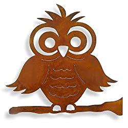 """Whimsical Owl Rusted Metal Outdoor Wall Art, 15"""""""