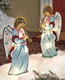 Set of 2 Lighted Holographic Angel with Trumpet Horn Christmas Yard Decor Seasonal Festive Outdoor Lawn Decoration Display