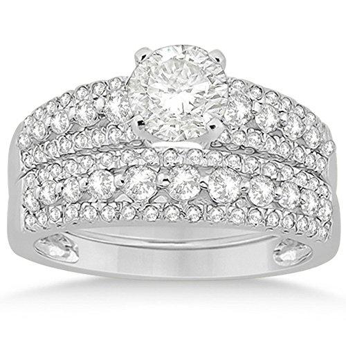 Petite Three Row Prong-Set Diamond Bridal Set with Round-Cut Side Stones in Platinum (0.80ct)