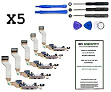 buy Iphone 4S (A1431, A1387, A1387) Replacement Bulk Charge Dock Flex Cables (Black) X5 With Dm Tools Included - Diymobility