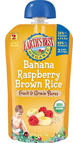 Earth's Best Organic Stage 2, Banana, Raspberry & Brown Rice, 4.2 Ounce Pouch (Pack of 12)