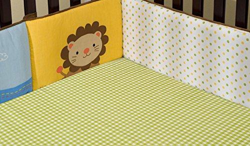 kidsline Ark Pals Fitted Sheet, Sage Gingham (Discontinued by Manufacturer) - 1