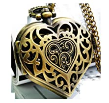 buy New Heart-Shaped Pierced Pocket Watch Chain Necklace Alloy Antique Bronze Watches Wph144422A