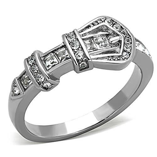 Stainless Steel Ring Belt Buckle Shape Cubic Zirconia Silver-Tone Women Size 5-10 SPJ