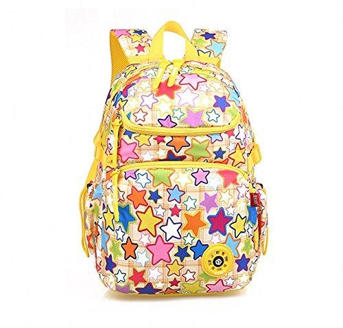 Zaino dei bambini, casual Daypacks Tablet Messenger Bambino Carrier Zaini borse libro sacchetto miglior studente (7-12 anni) del sacchetto di spalla pranzo Schulranzen zaino scuola (Giallo Stelle)