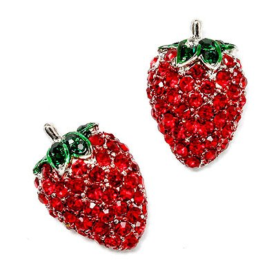 Sparkle Crystal Paved Strawberry Shape 18mm Stud Earrings Silver Tone Green Red