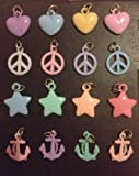 Pack of 16 Pastel Charms for Rubber Band Loom Bracelets