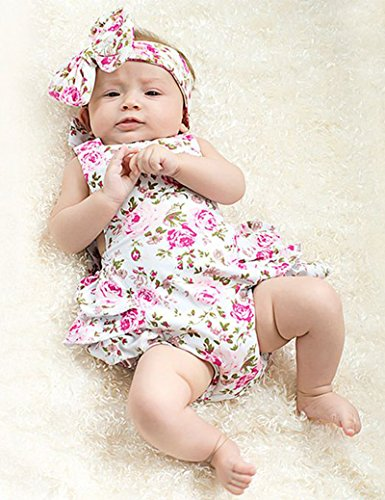 Newborn Baby Girls Halter Cotton Ruffles Romper Backless Sunsuit Jumpsuit Dress (12~18Months, Pink)