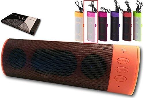Bluetooth-Lautsprecher-Kabellos-Stereo-Soundbox-Musikbox-Boxen-KFZ-Auto-Freisprecheinrichtung-Freisprecher-Neon-rosa