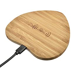 Nunet® Natural Bamboo Wireless Charger, Qi wireless charging pad for Galaxy S6/S6/S7 Edge, Note 5/6, Nexus 4/5/6/7, LG, Nokia, Sony, HTC and All QI-Enabled Devices (Bamboo Heart)