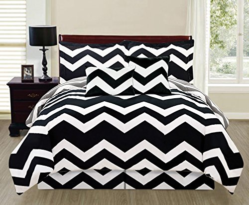 6 Piece Reversible Chevron Design Comforter Set Bed
