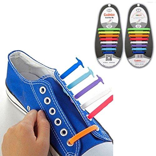 AutumnFall 16PCS/Set Unisex Women Men No Tie Shoelaces Elastic Silicone Shoe Laces Fit All Sneakers (Colorful)