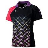 【10月末入荷予約】ミズノ 卓球ゲームシャツ 82JA6202 97:ブラック×バーチャルピンク Lサイズ