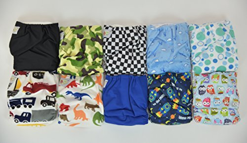 10 Pack Pocket Cloth Diapers with 20 Inserts (2 Inserts Per Diaper)-boy Pack 1