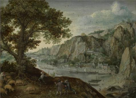 [Oil Painting 'Lucas Van Valckenborch - Huy, Seen From Ahin,second Half Of 16th Century' 24 x 33 inch / 61 x 85 cm , on High Definition HD canvas prints, gifts for Kitchen, Laundry Room And Liv] (Trailer Trash Outfits)