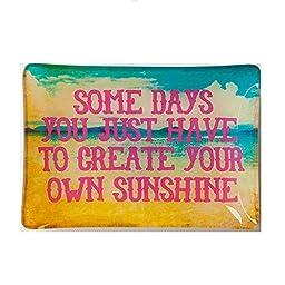 Natural Life GLST012 Glass Tray, Create Sunshine