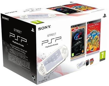 Console PSP Street (E1004 blanche)  + Geronimo stilton : le Royaume de la Fantaisie + Gran Turismo - collection essentielles
