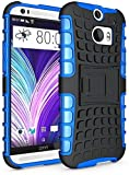 myLife Dark Black and Sapphire Blue {Rugged Design} Two Piece Neo Hybrid (Shockproof Kickstand) Case for the All-New HTC One M8 Android Smartphone - AKA, 2nd Gen HTC One (External Hard Fit Armor With Built in Kick Stand + Internal Soft Silicone Rubberized