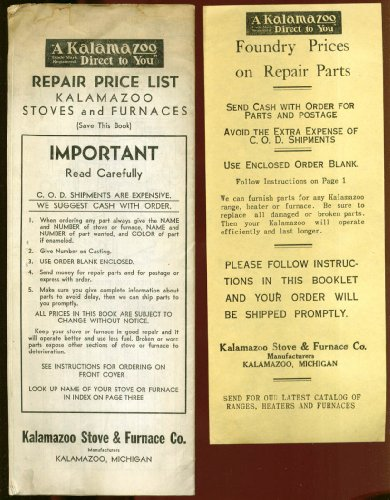 Kalamazoo Stove & Furnace Repair Price List 1930s (Furnace Prices compare prices)
