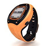 Pyle Extreme GPS Sports Watch Workout Trainer - ANT+ Heart Rate Monitor Compatible - For Tracking Running, Biking, Hiking Outdoors - Export Data to Map my Run and Strava - Displays Pace, Speed and Distance (Orange)