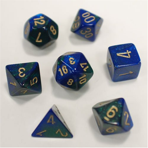 Polyhedral 7-Die Gemini Dice Set - Blue-Green With Gold