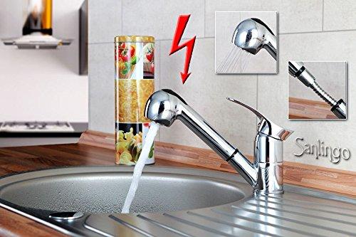 Niederdruck Spültisch Küchen Armatur schönes Design 2 Strahlarten Chrom Sanlingo