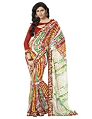 Prafful Gorgette Printed Saree With Unstitched Blouse - B00KNUPU52