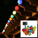 TLT Solar Powered 20 LED Mini Oriental Style Lantern String Lights (Multicolor) - Great for Patio - Lawn - Pathway - Garden LED010