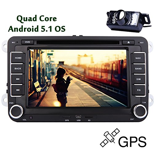 EinCar capacitivo GPS Navigation Android 5.1 Quad Core Bluetooth Radio Receiver parti audio per CD Volkswagen FM AM Stereo 2 Din veicolo Video Autoradio Multimedia System Car DVD Player 8 pollici RDS Sub AMP Mappa 3D Reverse fotocamera