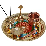 SWS Rangoli Diwali Gift Item Brass Pooja & Thali Set(6 Pieces, Multicolor)
