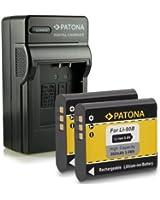 Nouveauté - 4en1 Chargeur + 2x Batterie comme Li-90B pour Olympus Stylus Creator XZ-2 | Stylus Traveller SH-50 | Stylus Tough TG-1 / TG-2
