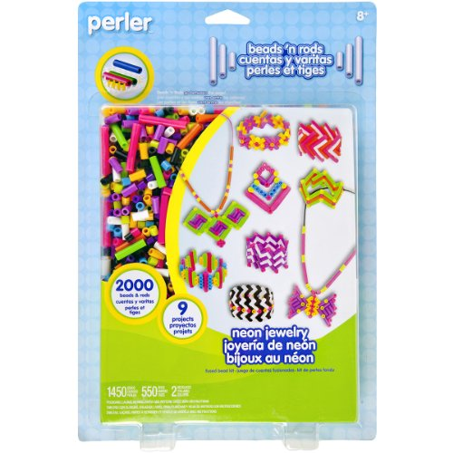 Perler Beads Fused Bead Kit, Neon Jewelry