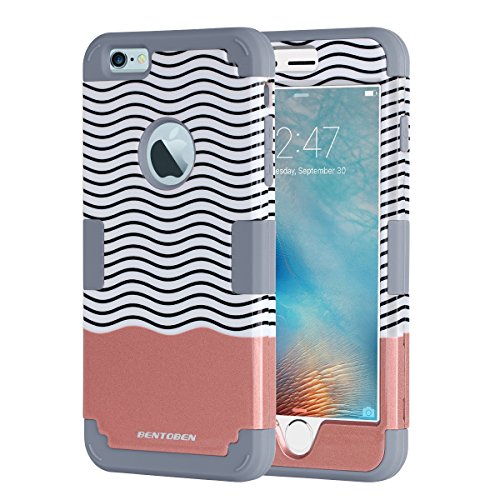 iPhone 6 Plus Case, iPhone 6S Plus Case, BENTOBEN 3in1 Hybrid Case 5.5 Inch Shockproof Hard Cover PC + Soft Silicone Interior Scratch Protective Combo Covers [Patented Pattern]Rose Gold+Grey (Iphone 6 3in1 Hard Hybrid Case compare prices)