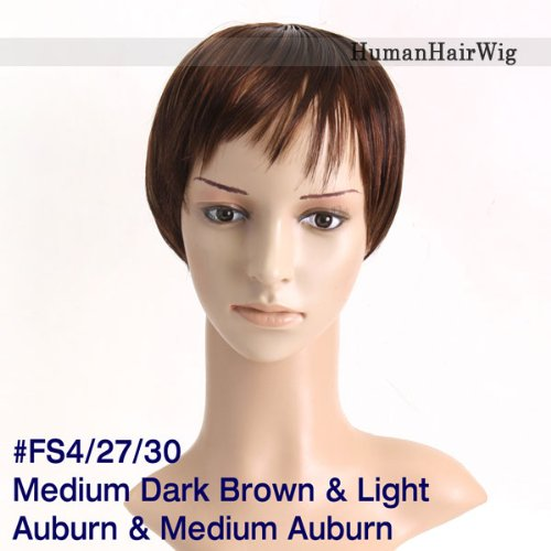 Lace Cap Short Synthetic Human Hair Wigs Pretty Hair Replacement Hair Replacement Lace Wig Cheap Wig WGF1-FS4/27/30 Medium Dark Brown & Light Auburn & Medium Auburn at Amazon.com