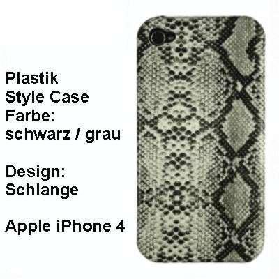 XiRRiX Premium Plastik Style Case für Apple iPhone 4, Farbe: schwarz / grau - Design: Schlange