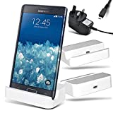 Samsung Galaxy Note Edge N915FY Micro USB White Cradle Desktop Docking Station Charging Dock Charger Stand with 3 Pin UK Micro USB Mains Charger - CE - ROHS Approved - By Gadget Giant®