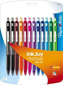 Paper Mate InkJoy 300 RT Retractable Medium Point Ballpoint Pens, Assorted Colors, 24 Pack (1781568)