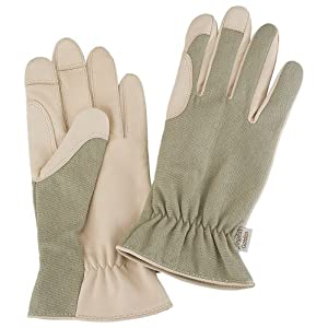Angela's Garden 7107-100 Eco Garden Gardening Gloves with Leather, Natural