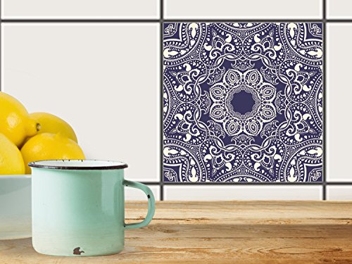 fliesenfolie selbstklebend 20x20 cm 1x1 design blue mandala grafik illustration klebefolie. Black Bedroom Furniture Sets. Home Design Ideas