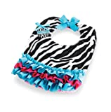 Wild Child Zebra Bib, Black/White/Blue/Pink, 0-6 Months