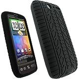 igadgitz Silikon Hülle Schutzhülle Etui Case Tasche in Schwarz mit Reifenprofil-Design für HTC Desire Bravo G7 Android Smartphone Handy + Display Schutzfolie