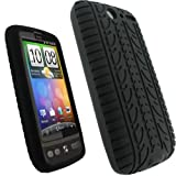 igadgitz Black Silicone Skin Case Cover with Tire Tread Design for HTC Desi ....