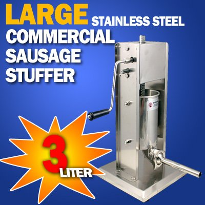 New Commercial Grade Deluxe Stainless Steel Sausage Stuffer - 3L (Cielo Blue Meat Grinder compare prices)