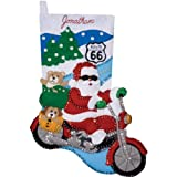 Design WorksRoute 66 Felt Stocking Kit,Motorcycle Santa,16,sequins,beads,felts,floss