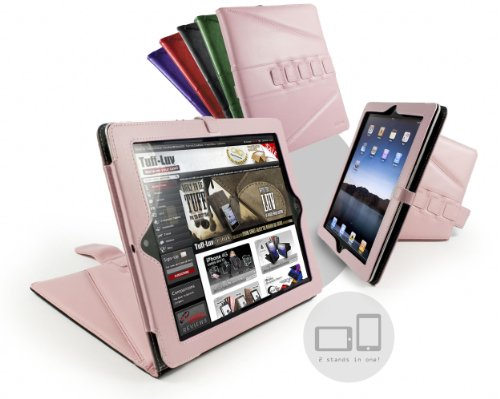 Tuff-Luv Tri-Axis Stasis Series: Napa Leather case cover for Apple iPad 2 - Pink