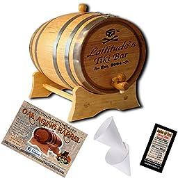 Personalized American Oak Aging Barrel - Design 026: Pirate Tiki Bar (2 Liter)