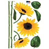 Nursery Easy Apply Wall Sticker Decorations - Single Stem Sunflower