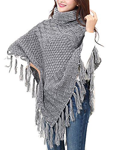 Women's Cowl Neck Batwing Tassels Long Poncho Cape Cable Knit Sweater Cloak Grey (Knit Cowl Poncho compare prices)