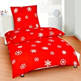 Weihnachts - Bettwsche Microfaser - Biber, 135x200 / 80x80 * Design Schneeflocke ~ Schneekristalle * rot / weiss * Mit Reiverschlussvon &#34;desfact&#34;