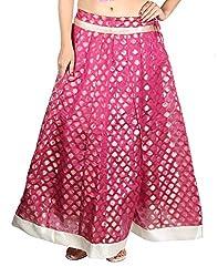 Aura Life Style Georgette Brocade Women's Long Skirt / Lehenga (ALSK4042D,Free Size,Pink)